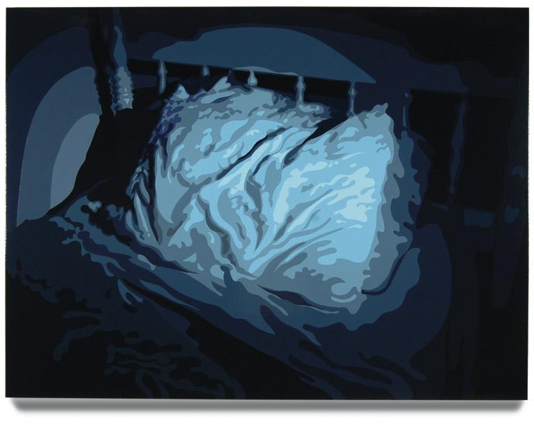 Bed, 45 x 60, Oil Enamel on Canvas