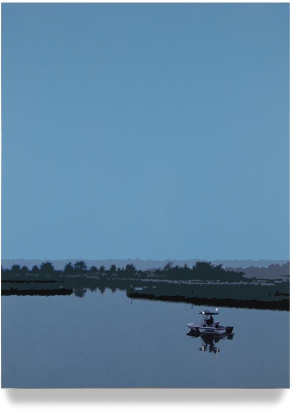 Inlet, 43x 32, Oil enamel on canvas