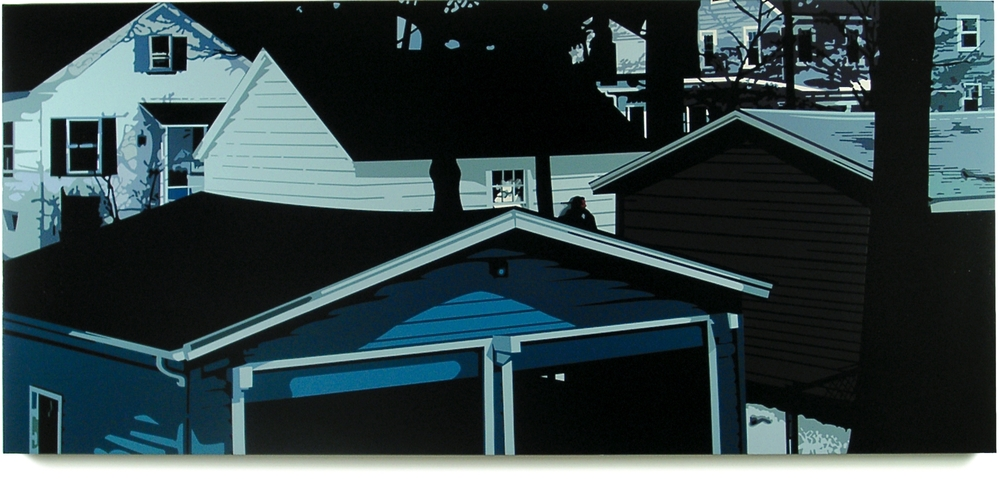Jersey Yards  , 33 x 73, Oil enamel on canvas