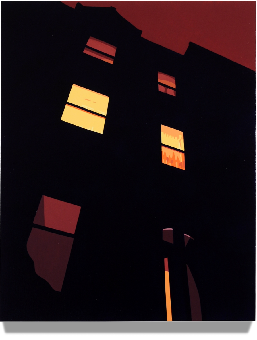 House at Night V (Brownstone), 2014, 30 x24, Oil on linen