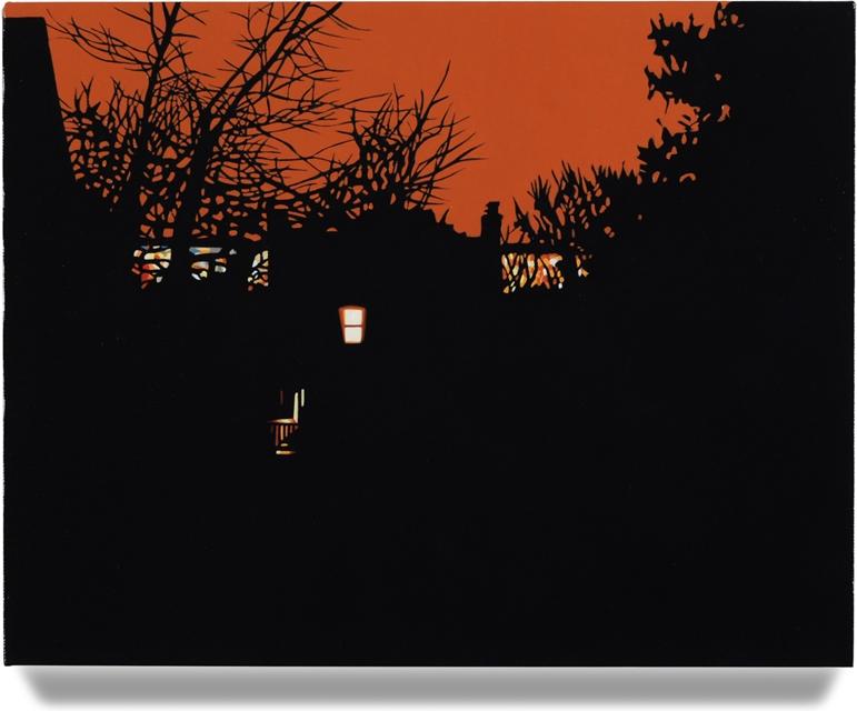 House at Night VI (Arlington, VA), 2014, 14 x 16, Oil on linen
