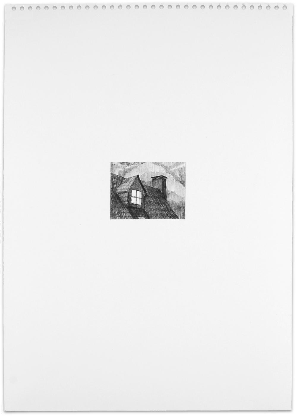 Secret (dormer), 2013, 16.5 x 11.5, graphite on paper