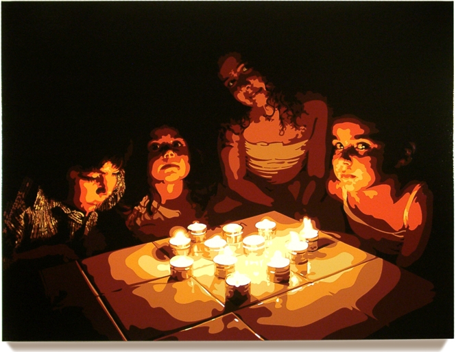 Candles, 45 x 60, Oil enamel on canvas