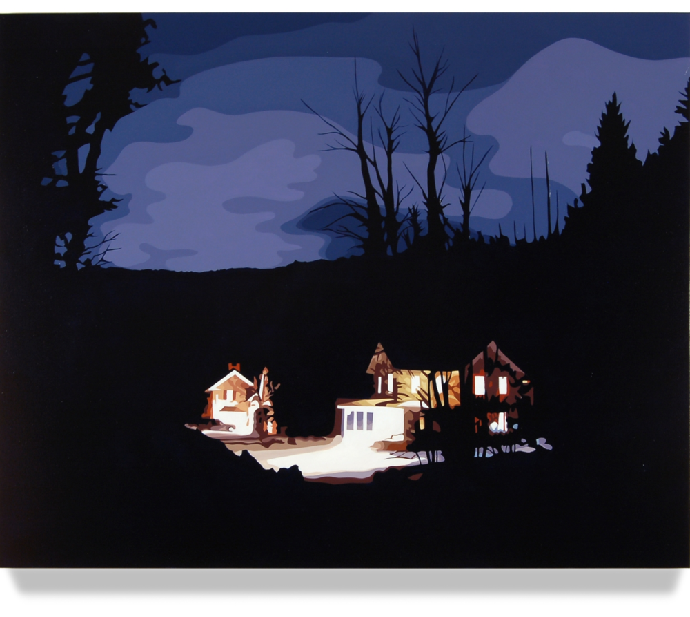 House At Night II (Bantam, CT) 2012, 32 x 40, Oil on Canvas