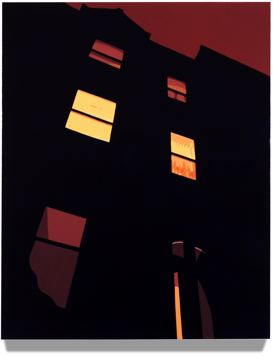 House at Night V (Brownstone), 30 x 24, Oil on Linen