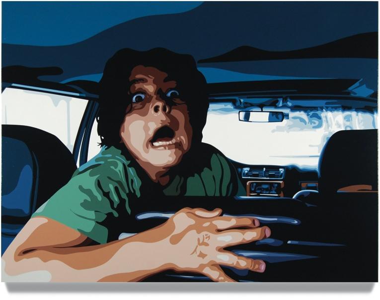 Back Seat, 2008, 45x 60, Oil enamel on canvas
