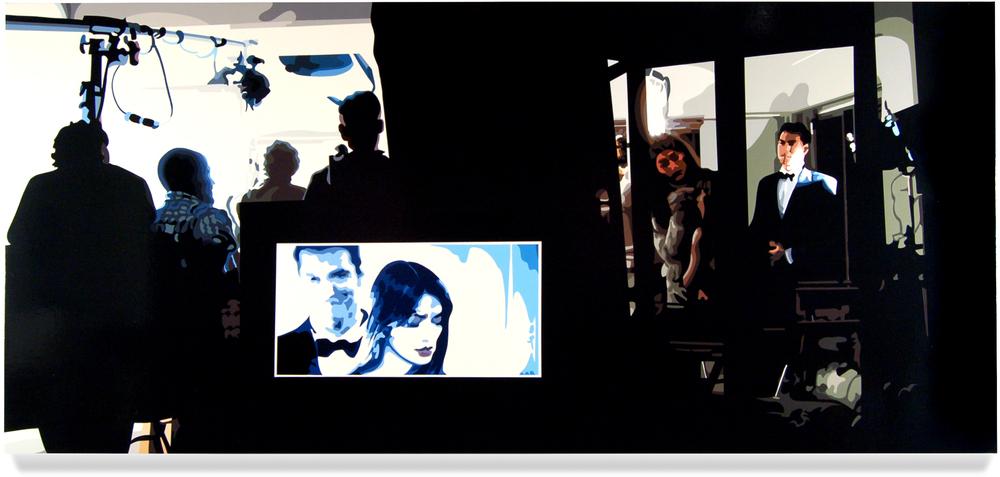 Shoot II,2008, 40x 88, Oil enamel on canvas