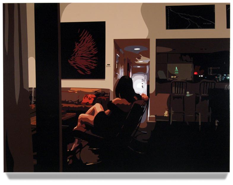 Living Room,2008, 45x 60, Oil enamel on canvas