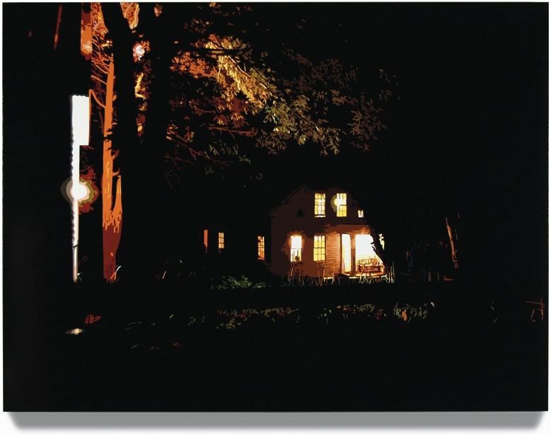 House at Night I,2006, 45x 60, Oil enamel oncanvas