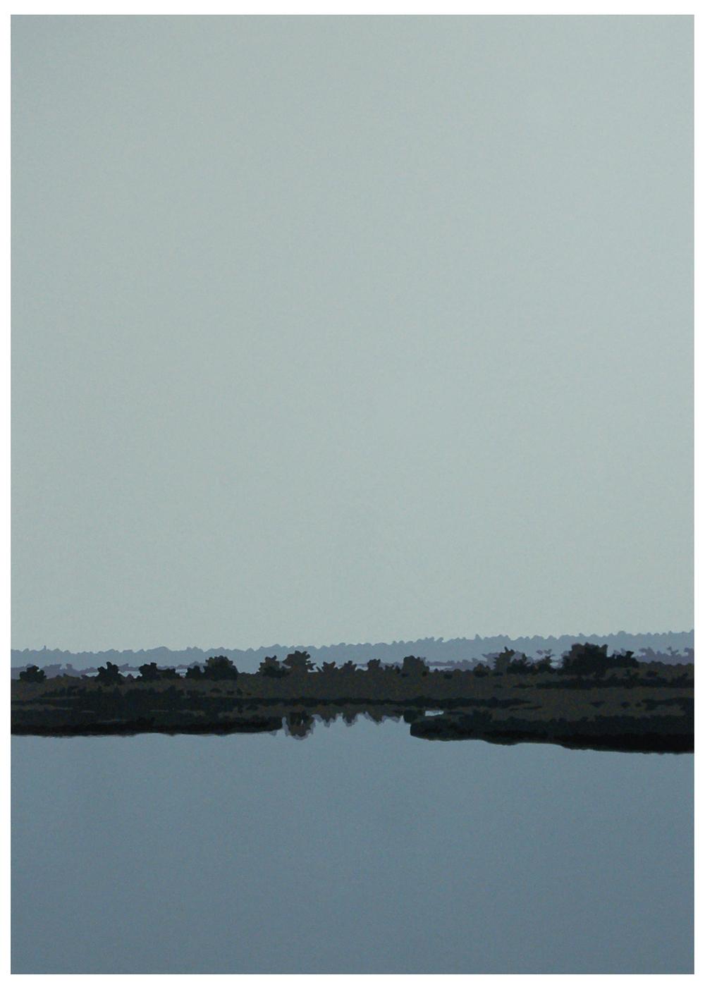 Marsh II,2007, 27x 19, Oil enamel onresin paper