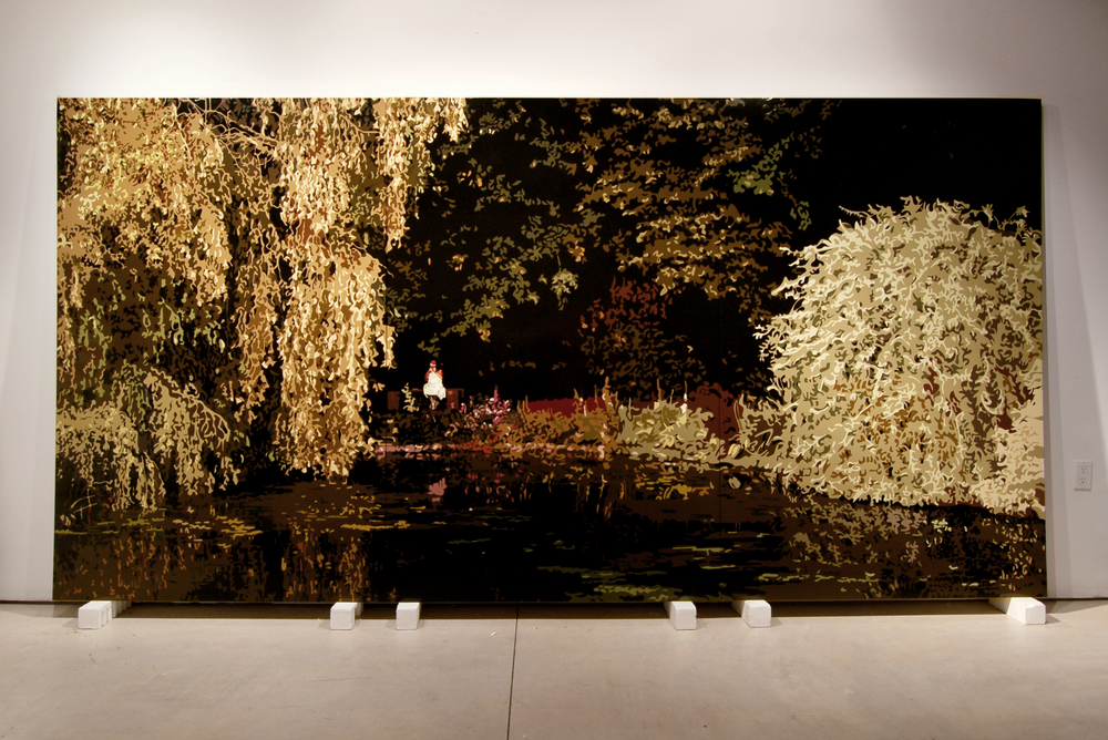Gardens at Cadhay,2007, 74x 147, Oil enamel oncanvas