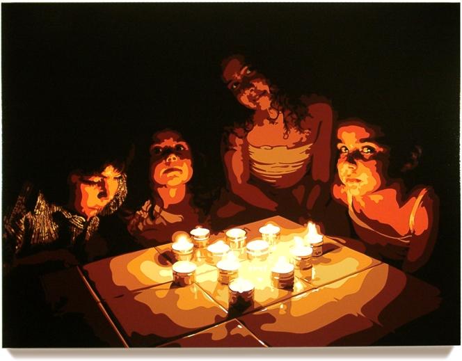 Candles,2006, 45x 60, Oil enamel oncanvas