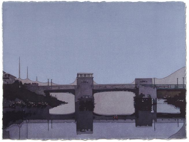 Beach Lane Bridge,2006, 22.5 x 30.25, Watercolor on paper