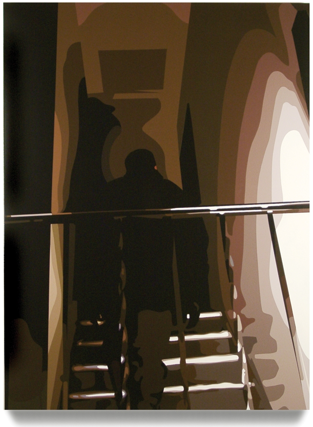 Man Ascending Stairs, 2005, 60 x 45, Oil Enamel on Canvas