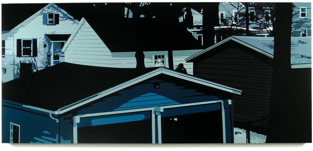 Jersey Yards, 2004, 33 x 75, Oil Enamel on Canvas