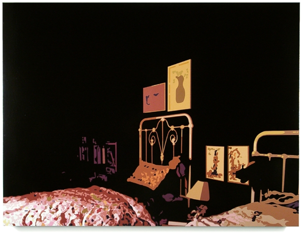 Home Alone,   2002, 40 x 53.5, Oil Enamel on Canvas