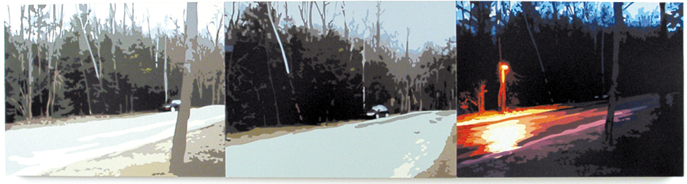 Canyon Ranch Road, 2002, Triptych, Oil Enamel on Canvas