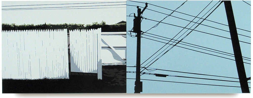 Dune Road, 2002, Diptych, 9 x 24, Oil Enamel on Resin Paper