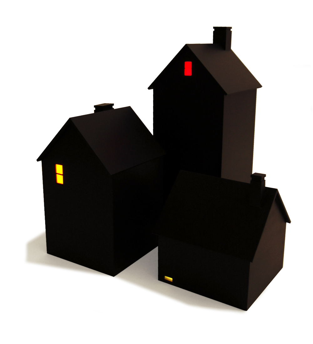 Houses at Night, (Without Pedestals), 2015, painted wood, colored plexiglass, light bulb, battery.