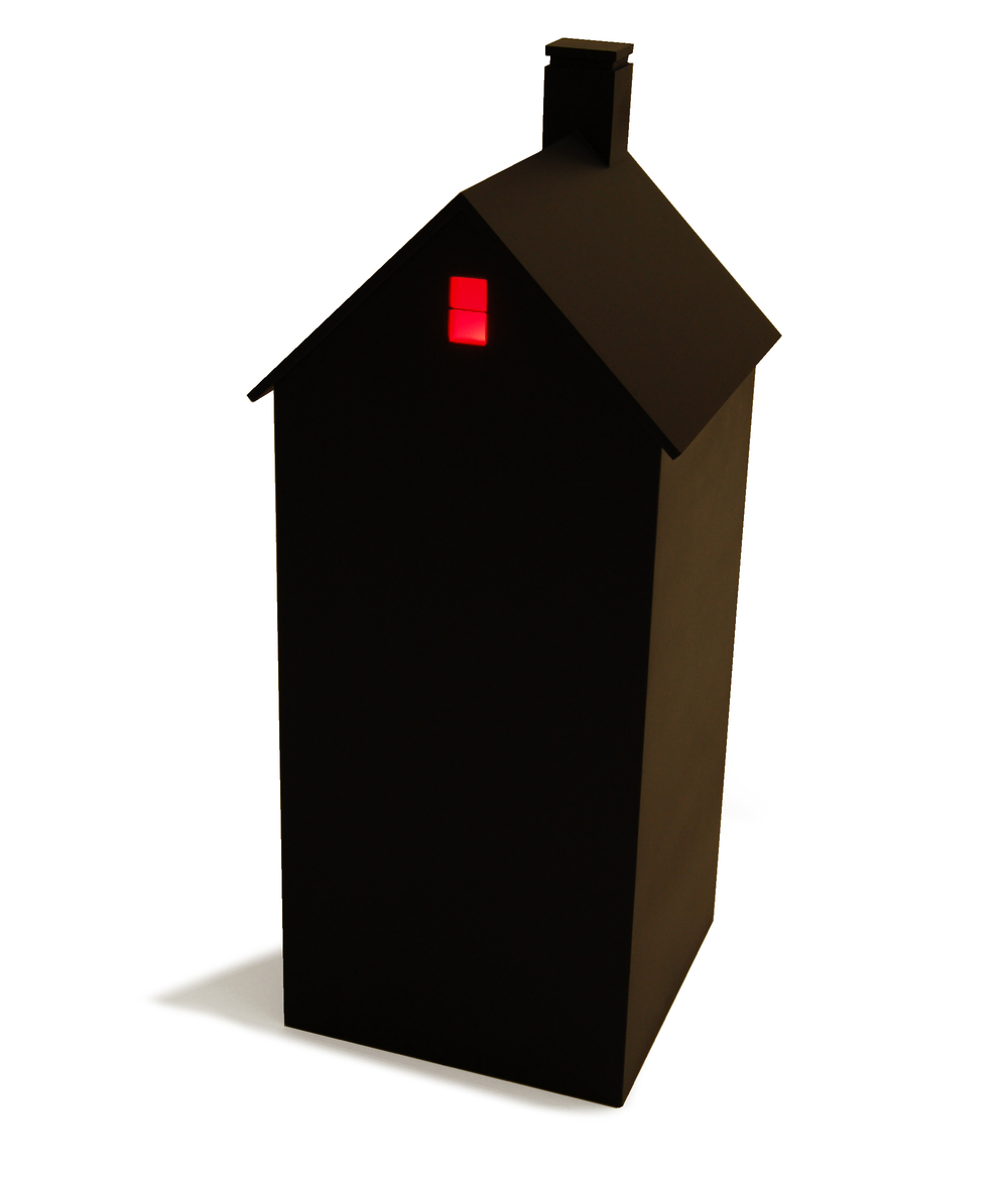 "House at Night III (Attic),   2015, 11"" x 11"" x 27"", painted wood, colored plexiglass, light bulb, battery."