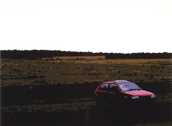 Red Car  , 32   x 43  , Oil enamel on canvas