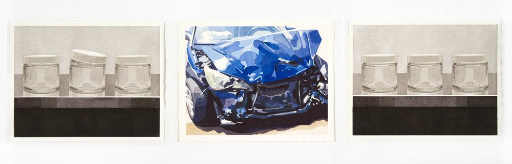 """Ritual No. 1 , 2017, 11"""" x 14"""" ea. (triptych),Watercolor on paper"""