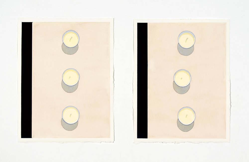 "Candles , 2017, 13"" x 10"" ea., (diptych), Watercolor"