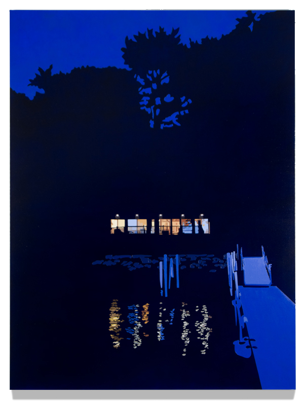 "House at Night XII (Morris, CT), 2016, 48"" x 36"", Oil on linen"