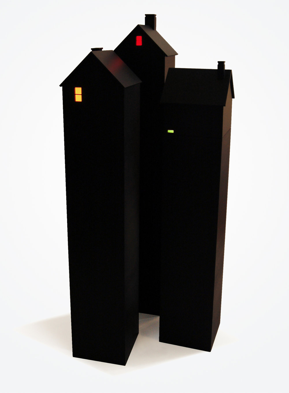 Houses at Night (with pedestals) 2015, wood, plexi, bulb, battery