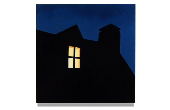 "Dormer at Night, 2015, 10"" x 10"", Oil on panel"