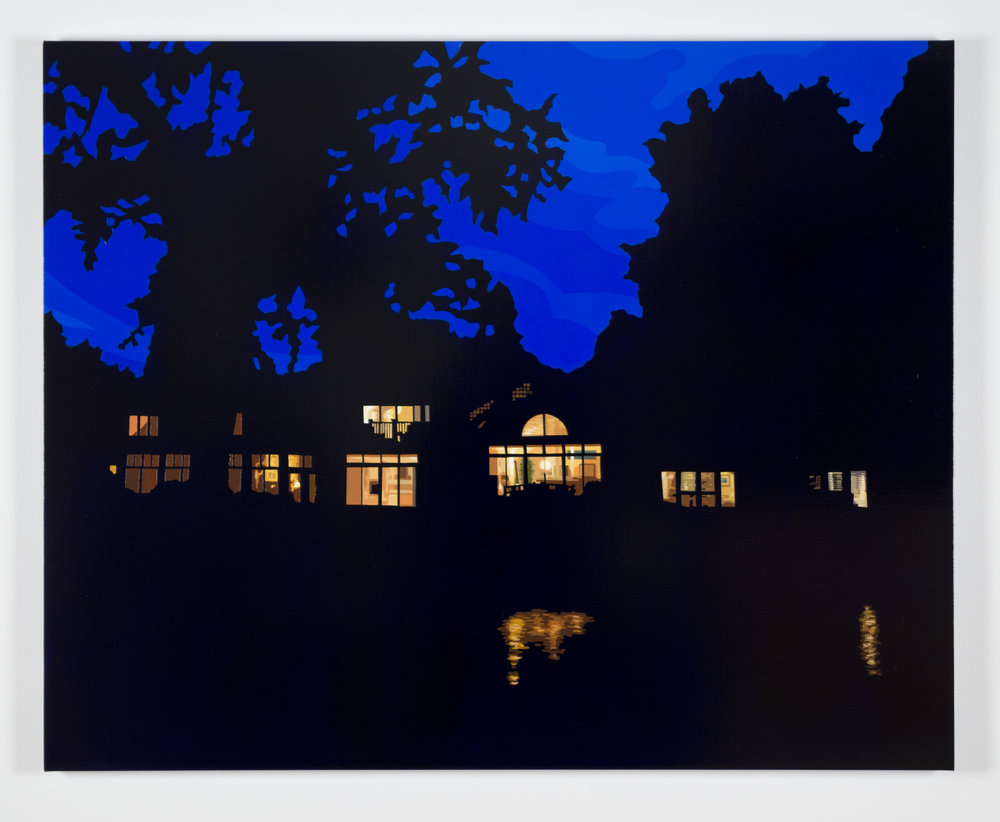 "House at Night XIV (Lake Canandaigua, NY) 2018, 36"" x 48"", Oil on linen"