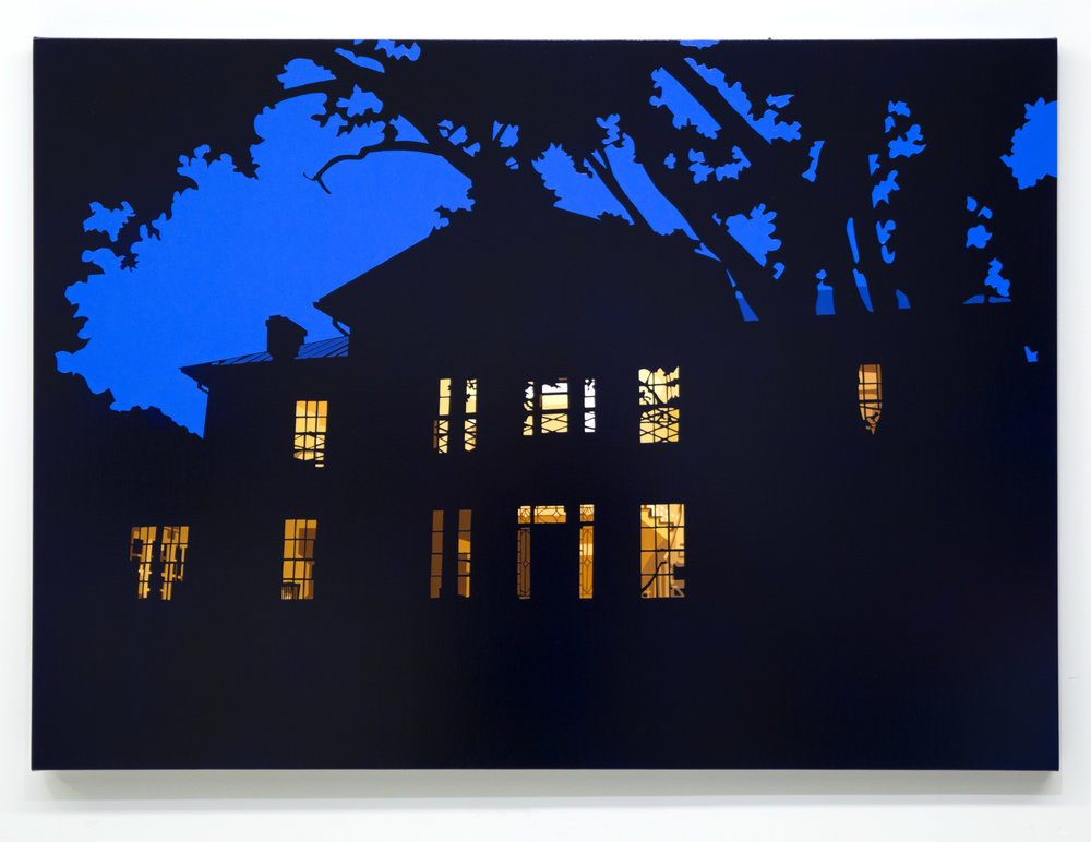 "House at Night XVIII (Monterey House, Roanoke College, VA), 2018, 30"" x 42"", oil on linen"