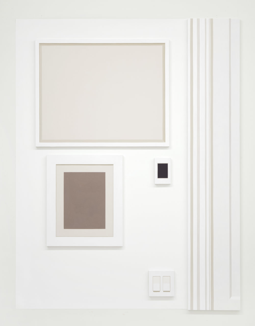 """Self Portrait No. 1,  2019, 54 ¾"""" h x 42 ¾"""" w x 3/4"""" d (overall). 5 paintings, various sizes. Wall: Benjamin Moore Super White #N215-02.  Pasquarelli's installation paintings expand on his desire to represent our psychological compulsions for perfection and order in the world around us. Much like Sol LeWitt, these works are accompanied by a blueprint diagram, specifying not only the size and location of a delineated area to be painted on the wall, but the precise location for each oil painting to be hung within that area."""