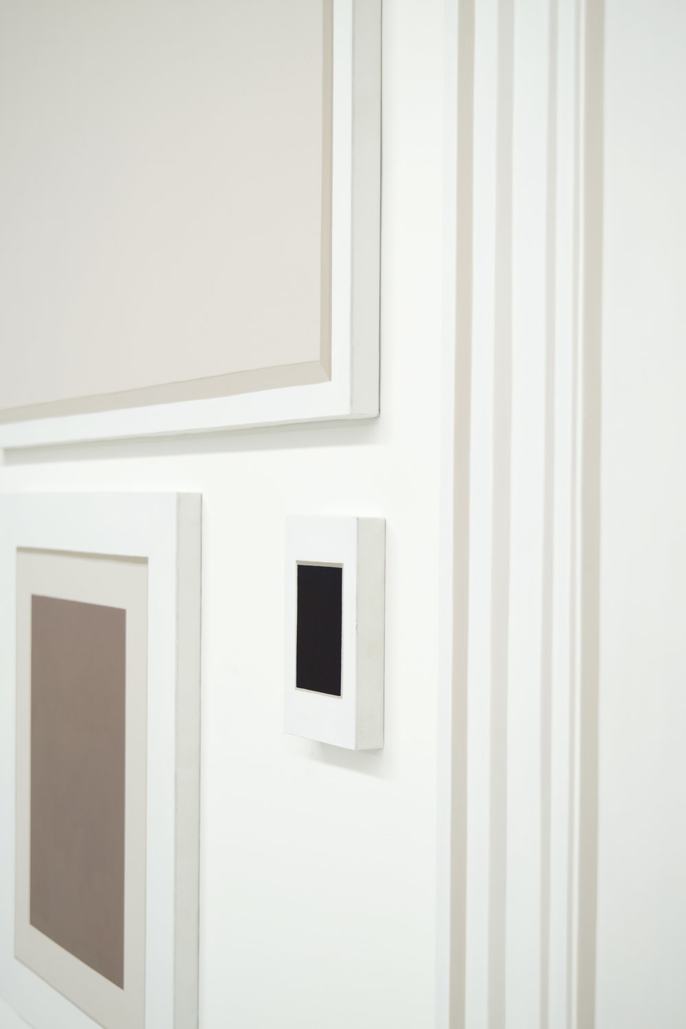 """Self Portrait No. 1,  (Detail),   2019, 54 ¾"""" h x 42 ¾"""" w x 3/4"""" d (overall). 5 paintings, various sizes. Wall: Benjamin Moore Super White."""