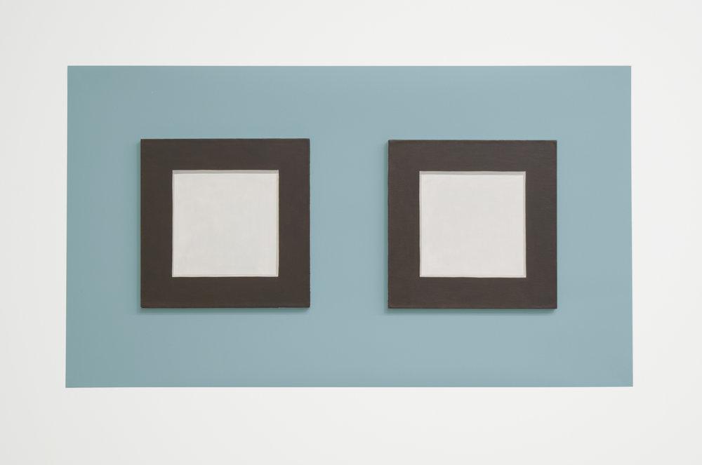 "Doug No.1,  2018, 15"" h x 26"" w x 1/4"" d (overall). 2 Paintings: 8"" x 8"" x 1/4"" ea., oil on linen over panel. Wall: Benjamin Moore House paint: Century Larimar #P3, nails."