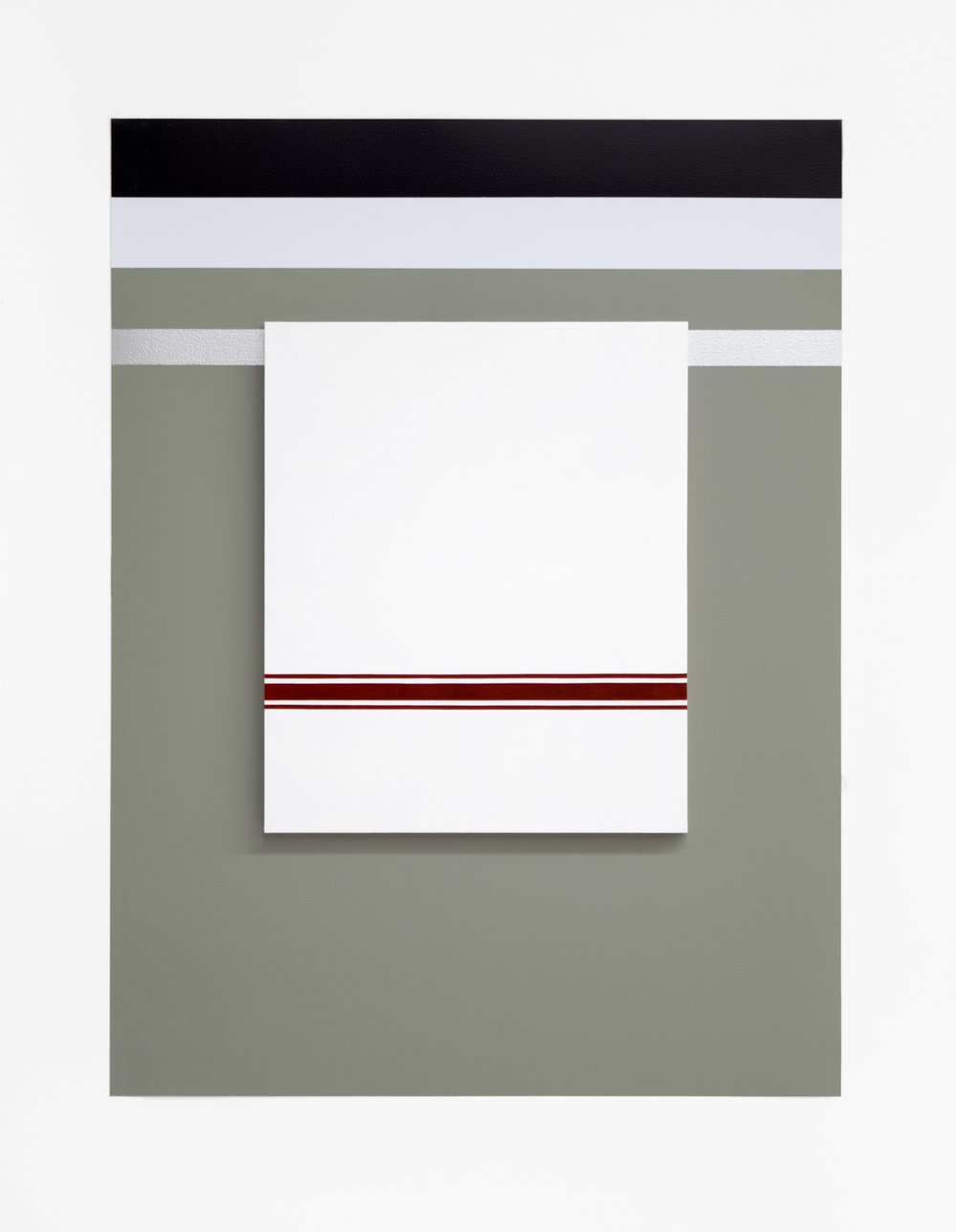 """Self Portrait No. 3,  2019, 28"""" h x 21"""" w x 3/4"""" d (overall). 1 Painting: 14 ½"""" x 12"""" x 3/4"""", oil on linen over panel. Wall: Benjamin Moore House paints: Secret #AF-710, White Diamond #2121-60, #Black Berry 2119-20, silver paint, nails."""
