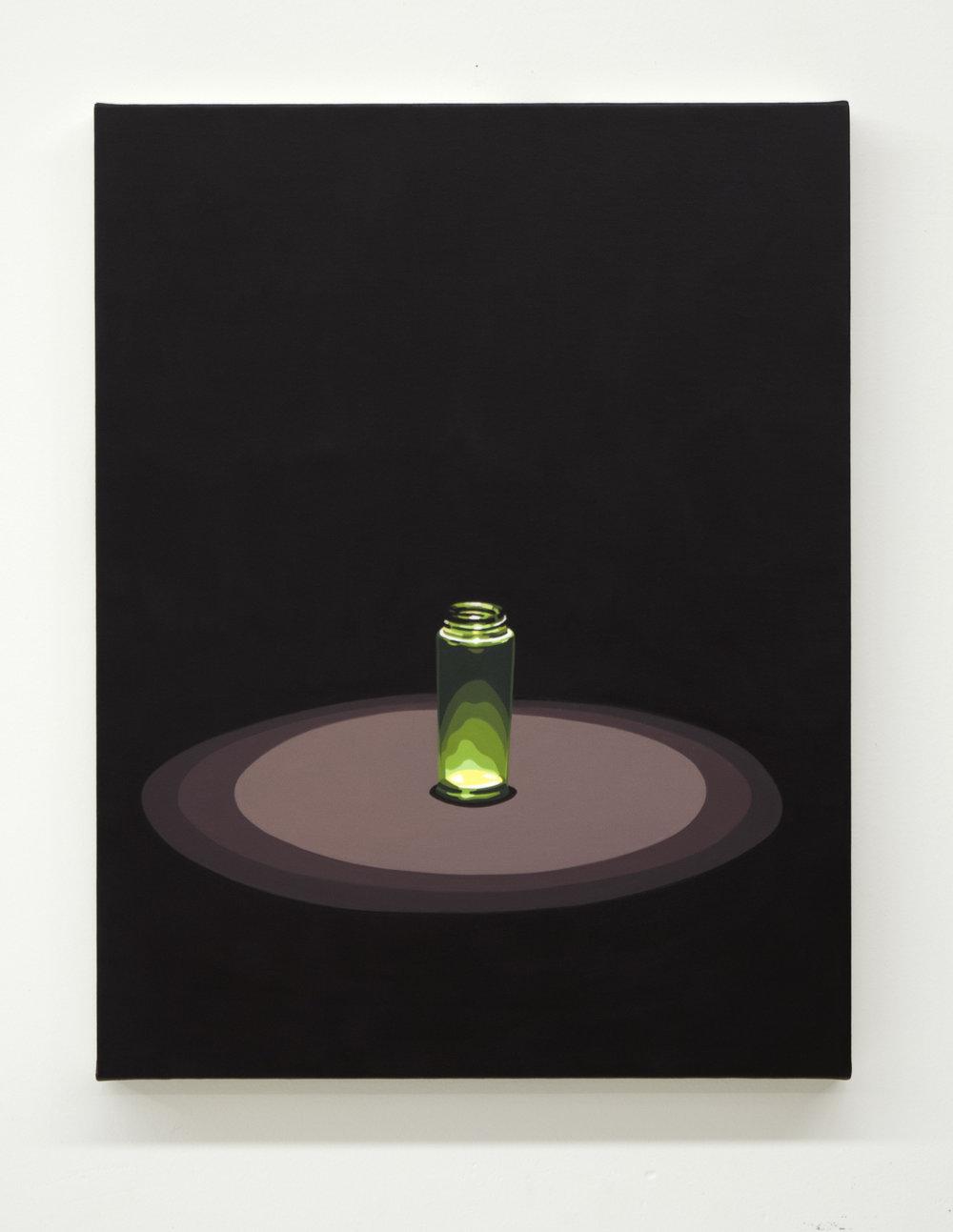 "Relic (Bottle ), 2019, 18"" x 14"", oil on linen, (AR component below)"