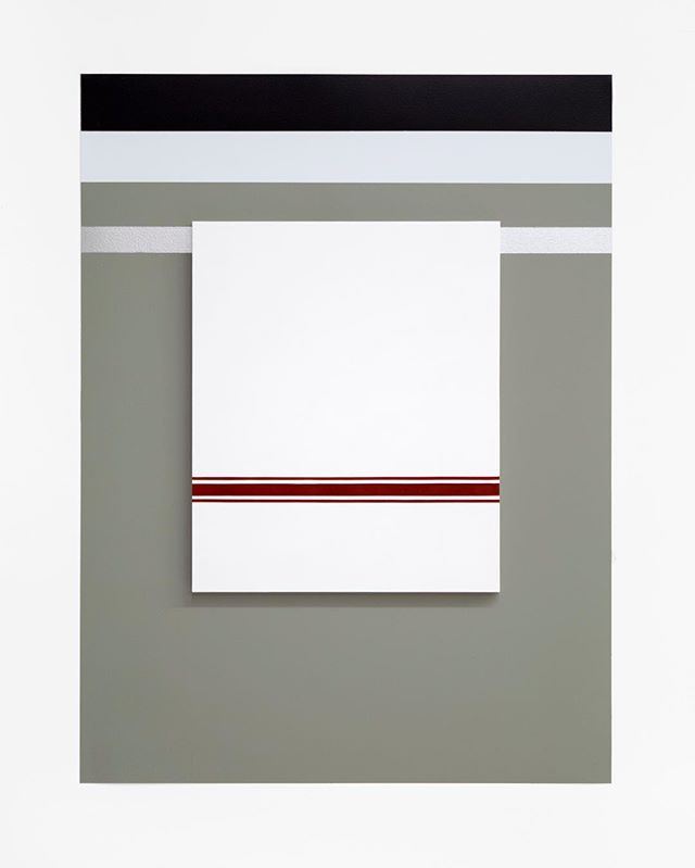 """One of my new installation paintings. Self Portrait No. 3, 2019, 28"""" h x 21"""" w x 3/4"""" d (overall). 1 Painting: 14 ½"""" x 12"""" x 3/4"""", oil on linen over panel. Wall: Benjamin Moore House paints: Secret #AF-710, White Diamond #2121-60, #Black Berry 2119-20, silver paint, nails."""