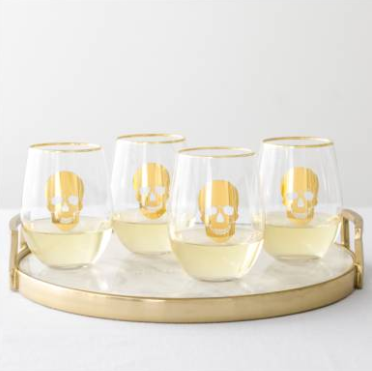 Set of 4 stemless skull wine glasses $58  Nordstrom