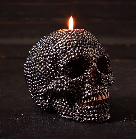 Beaded Skull Candle $23 at  Pottery Barn