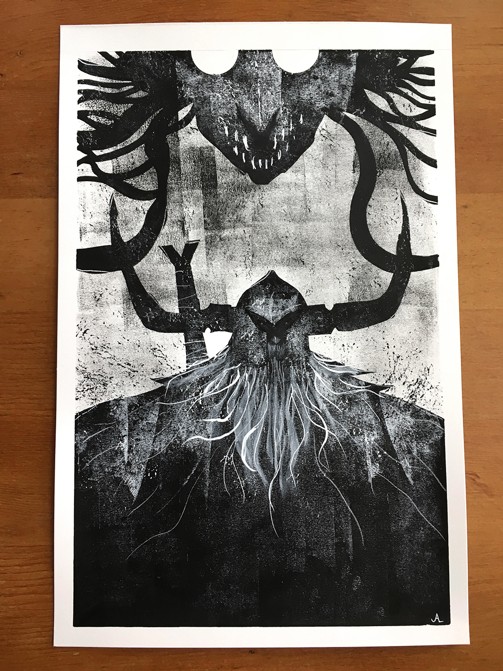 Original black/white painting for HEAD LOPPER.