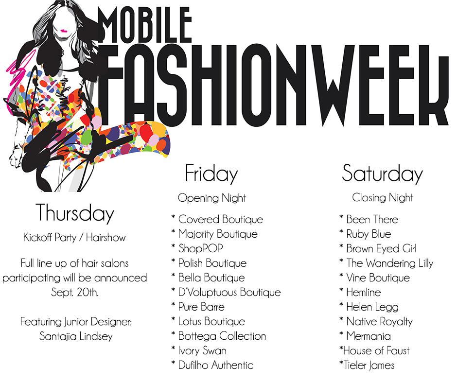 Mobile Fashion Week Schedule