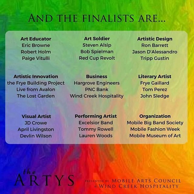 """We did it again! We are finalists for """"The Artys"""" presented by Mobile Arts Council & Wind Creek! Let's get it! 🏆"""