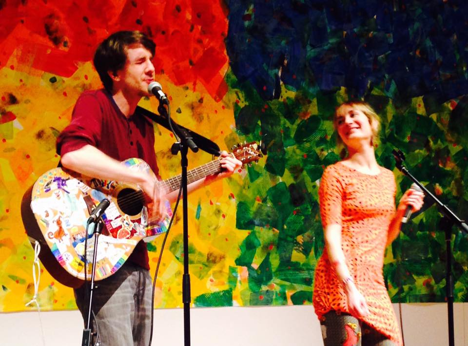 Courtney Parker and Evan Curran performing as Shiprock & Anchordog at the Eric Carle Museum