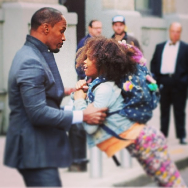 "Rehearsal for the new ""Annie"" starring @iamquvenzhane and #jamiefoxx via #newyorkpost #wegotannie #itsahardknocklife"