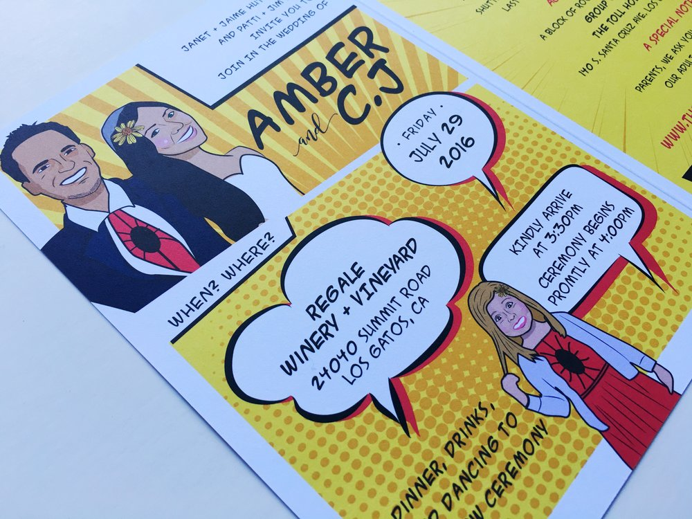 Amber and C.J Comic Book Wedding Invitation Details
