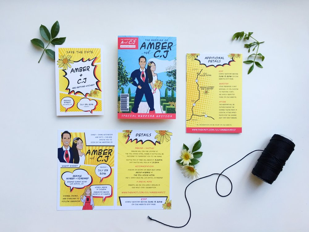 Amber and C.J Comic Book Wedding Invitation Suite