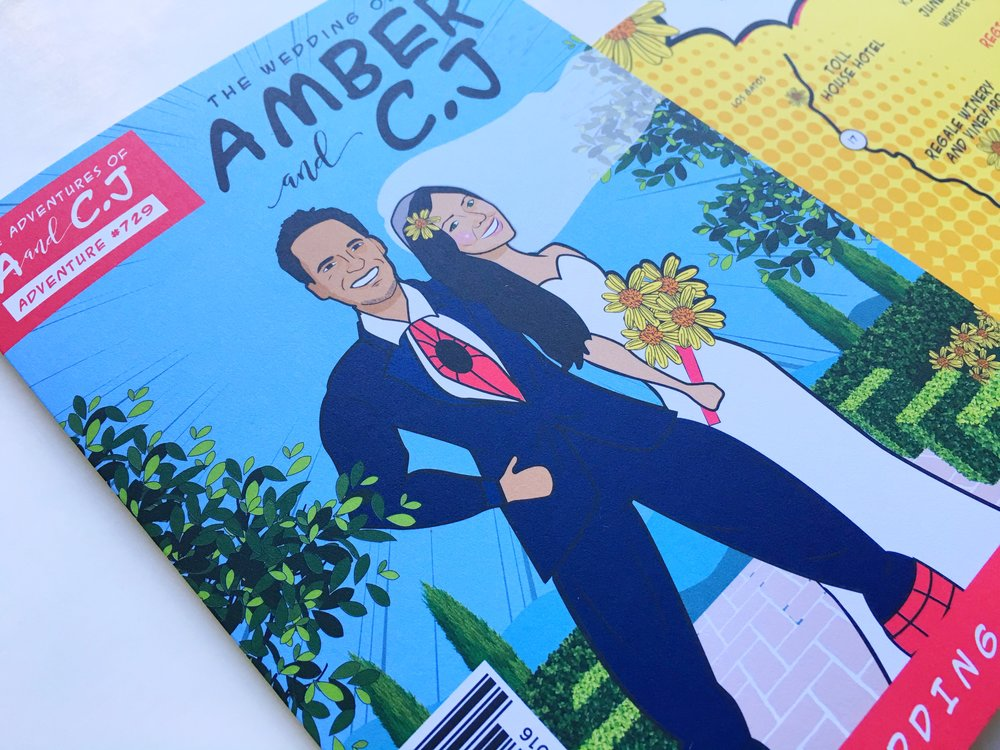 Amber and C.J Comic Book Wedding Invitation Angle