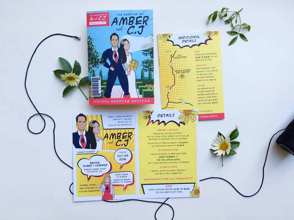 Amber and C.J Comic Book Wedding Invitation Suite 2