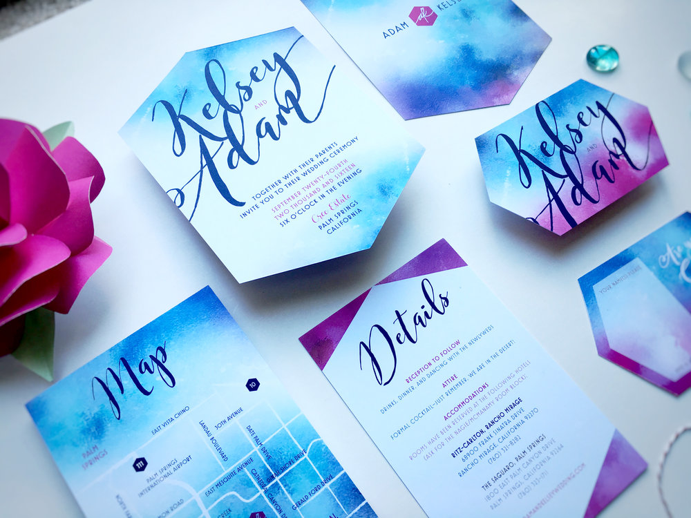 Kelsey and Adam Whimsical Wedding Invitation